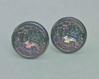 Early 1900s Carnival Glass Button Cufflinks