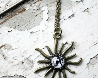 Silhouette Birds Photo Jewelry Sunburst Necklace, Sparrows on Branches Black and White Pendant, Sun Surreal Bronze Wearable Art