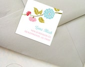 ON SALE - Personalized Square Floral/Bridal Labels/Bookplate/Wedding labels/Gift labels/Party labels