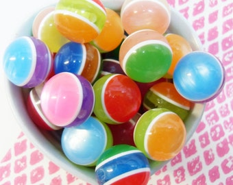 6x 20mm Giant Resin Cat Eye Globe Stripe beads in mixed colours Big Beads