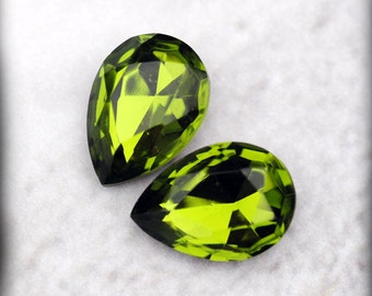 LOVELY 18x13mm Olivine Pear Faceted Glass Jewels Gems Stones, Faceted Fronts and Foiled Backs, Quantity 2