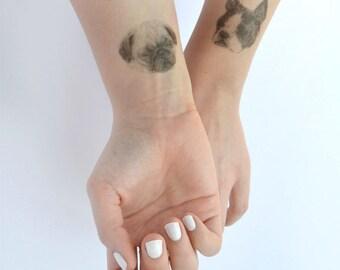 temporary tattoos -  1 fake dog tatts - puppy tattoo - pug - sausage dog - dalmatian - frenchie - bulldog - spaniel - ONE