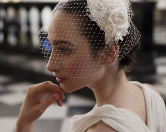 Ivory Wedding Headpiece with detachable birdcage veil and flower and lace details -for 1940s, 1930s style wedding dress -Agnes Hart UK