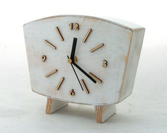 Desk clock, Wood Clock White, Arabic numbers, Handmade clock, Vintage Style 60s