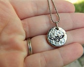 Handstamped Hammered Custom Personalized Pewter Pebble Necklace - Pet Loss Pet Memorial Dogs Cats - Thick Pendant - Size Medium