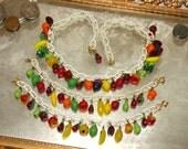 Vintage 1940's Celluloid Necklace Set - CARMEN MIRANDA - Glass Fruit Salad Pin Up Girl Parure Set - Stunning Condition