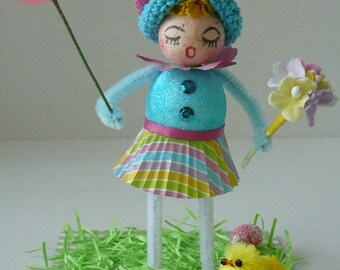 OOAK Spun Cotton and Chenille Pipe Cleaner Doll