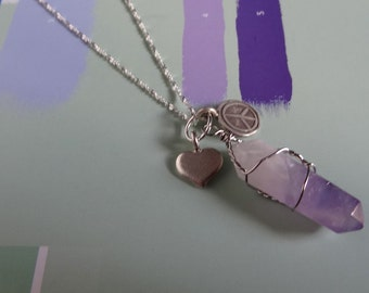Amethyst Crystal Pendant. Peace Love Charm Necklace. Gift For Her Under 100, Wire Wrapped Pendant, Raw Amethyst Necklace, Healing Crystal