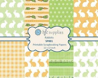 Rabbits Digital Paper Set, printable scrapbooking papers 12x12 inch - green and orange bunnies, carrots, spots - Instant Download SP001