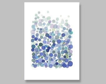 Blue bubbles Archival giclee large print watercolor painting dots art large abstract painting