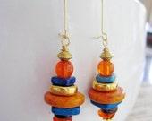 Orange Bohemian Earrings, Gold dangles, Ocean Blue, Greek Ceramic Beads, Stack Earrings