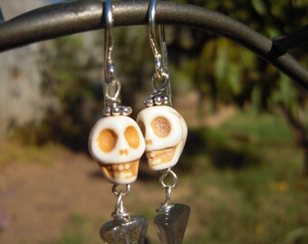 Dia de los Muertos Skull Earrings, Labradorite Beads