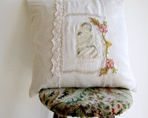 Hand Stitched Appliqued Cushion with Feather Insert, OOAK Pillow, Bedroom Decor