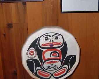 Elkhide Drum:  Woman Giving Birth to Herself