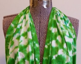 Tie Dye Infinity Scarf -- Granny Apple Green and White