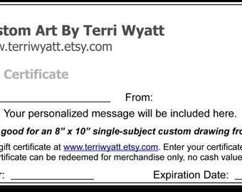 Gift Certificate - 11x14 Custom Portrait of Home, Family, or Pet From Photo - Original Personalized Pencil Sketch Drawing