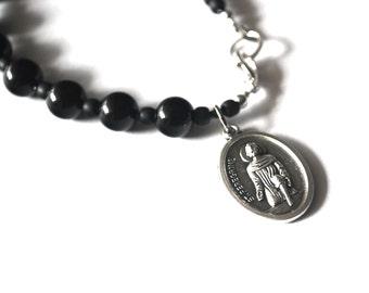 St Peregrine Mens Rosary Bracelet Black Onyx Tigers Eye Turquoise Patron Saint Peregrine Bracelet Male confirmation Gift Catholic Bracelet.
