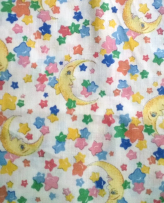 Moon and stars novelty print fabric 34 by debupcyclessupplies for Moon print fabric