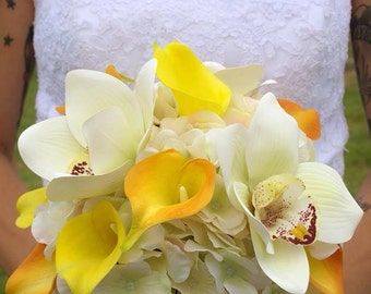 Wedding bouquet - Silk bride bouquet - Orange yellow wedding flowers