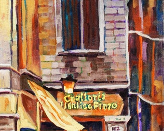 Original Art, Landscape Oil Painting, Lazy Cafe, Abstract, Impressionism, Original Painting by Rebecca Beal