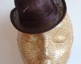 SALE Sinamay Mini Hat - Bowler- Chocolate Brown WAS 20 NOW 15 Millinery Supplies - Steampunk