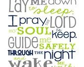 Now I Lay Me Down to Sleep Prayer – Boy – Bedroom – Newborn Boy - Navy Lime Green Gray - Christian Art - Baptism Gift - Christening Gift