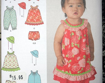 Baby Size NB 1 3 6 12 18 Month Simplicity 1700 Dress Romper Panties Jacket Hat Wardrobe Jumper Infant Toddler Girls UNCUT Sew Sewing Pattern
