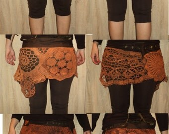 custom order crochet rusty brown/orange tribal skirt with velcro closing