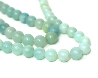 Amazonite Beads, 8mm round natural gemstone bead, Full or half strands available  (854S)
