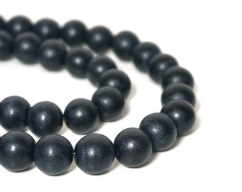 12mm round wood beads, dark slate blue, eco-friendly wooden beads (914R)