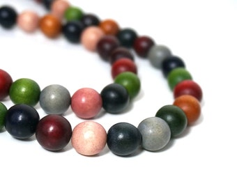 Colorful Wood Beads, 12mm round, Earthy Rainbow Color Mix, eco-friendly wooden beads (927R)