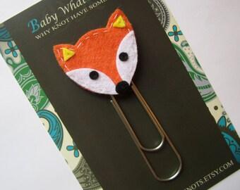 Extra LARGE Paperclip Bookmark, Fox Bookmark, Kids Felt Bookmark, Paperclips, Jumbo Paper Clip, Filofax, Planner Clips, Calendar, bmfox56