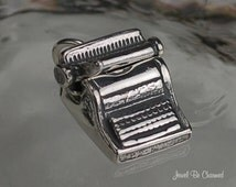 Typewriter Charm Sterling Silver for Old Fashioned Typing .925 Movable