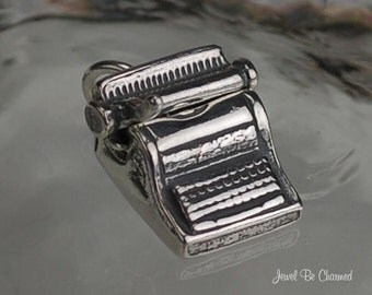 Sterling Silver Typewriter Charm Old Fashioned Typing Movable .925