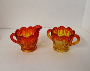 Vintage Amberina Moon and Stars Glass Cream and Open Sugar bowl