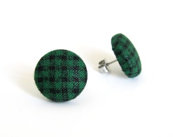 Green black gingham stud earrings - emerald fabric button earrings - plaid tartan check