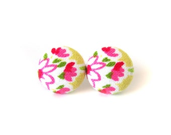 Pink yellow earrings - tiny stud earrings - bright button earrings - cute fabric earrings white green happy tulip