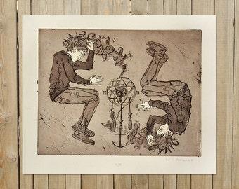 Dream Catcher | ORIGINAL Etching Print | intaglio rustic sepia