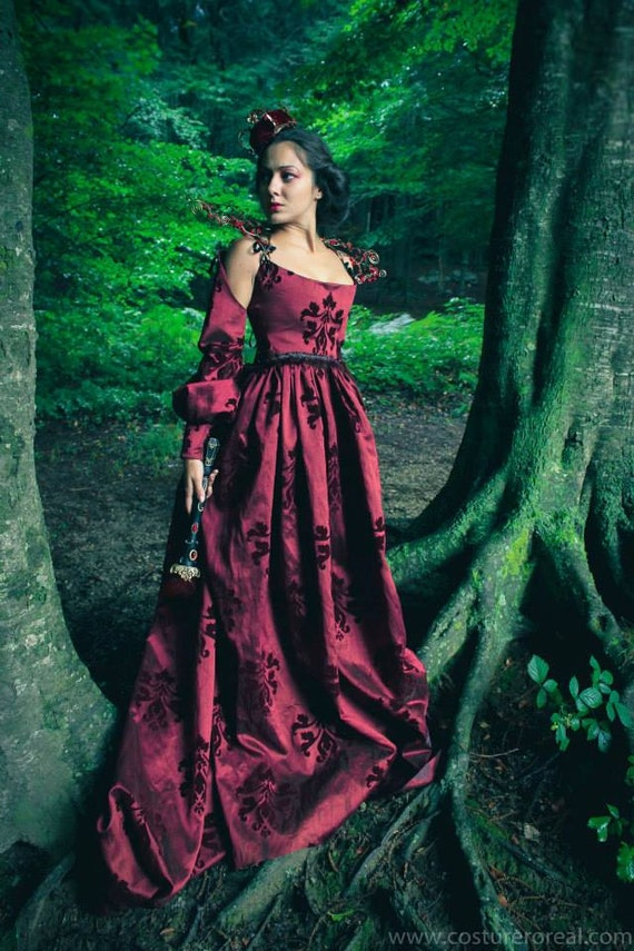 Red Queen medieval costume in brocade renaissance inspired cosplay costume larp Elvish, Medieval, Pre- Raphaelite, Gothic, Faery