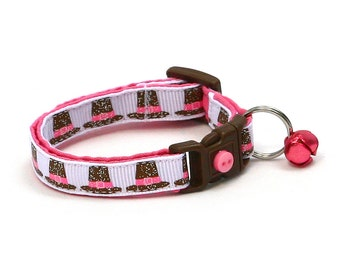 Thanksgiving Cat Collar - Glitter Pilgrim Hats in Pink - Kitten or Large Size