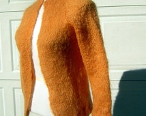 Vintage 60s ORANGE Pure Mohair Cardigan Sweater - Fuzzy Soft & Warm - S XS