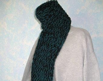 Winter scarf, black, teal item BO8