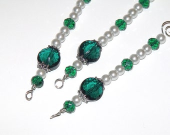 Emerald Green and White Pearl Icicle Ornaments - Beaded Christmas Green Holiday Decor