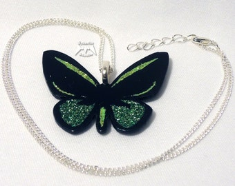 Elegant Lime Green Butterfly Small Pendant
