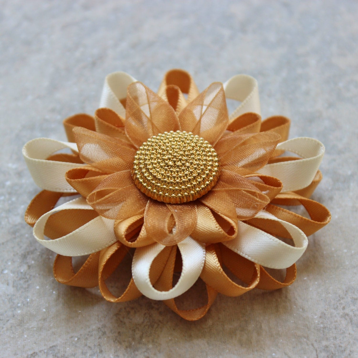 Gold Flower Pin Gold Corsage Pin Ivory and by PetalPerceptions