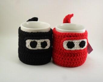 Ninja Mug Cozy & Coaster RED OR BLACK - 50% off - Clearance