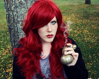 SALE Auburn Red wig | Long Curly Wavy wig | Halloween wig, Cosplay wig, Lolita and Mermaid styles | Poison