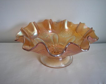 Vintage Dugan Double Rose Carnival Glass Pedestal Bowl