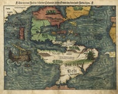 Antique Map of the World Western Hemisphere in German 1550