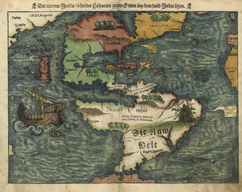 Antique Map of the World Western Hemisphere in German 1550